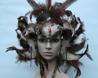 Custom feathered headdress