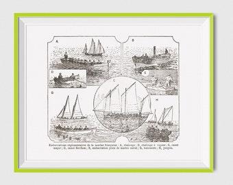 Printable Boat Art, Boat Vintage Digital Print, Vintage Boat Digital Print, Boat Wall Art, Antique Boat Print, Boat Wall Art, Boat Artwork