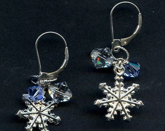 Snow Crystals Sterling Silver Earrings