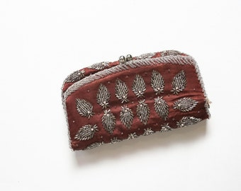 50s Beaded Hand Clutch Mid-Century Satin Brown & Silver Fold Over Bag 1950s Handbag Evening Envelope Clutch Wallet Cocktail Party Purse