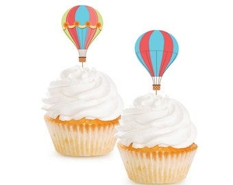 Hot Air Balloon Cupcake Toppers | Up Up and Away Hot Air Balloon Baby Shower Oh the Places You'll Go Neutral 1st Birthday Cupcake Pick