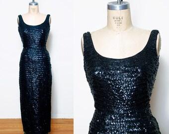 Vintage 50s black sequin dress / sequin wiggle dress / 50s evening dress / sequin bombshell dress