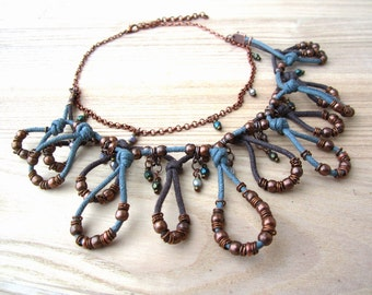 Ethnic tribal necklace, gypsy boho necklace, unique fiber necklace, boho chic jewelry, ethnic dangle necklace, drops pendants necklace