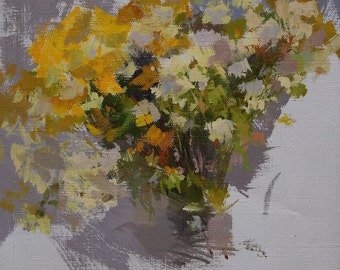 Small painting of flowers oil painting, Autumn bouquet art, Still life painting on canvas, Floral artwork yellow and green art