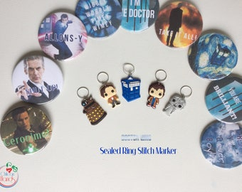 Crochet and knitting stitch markers and progress keepers - Doctor Who INSPIRED -5 pcs PLUS badge