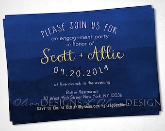 Navy Dye Dip Ombre Invitation - Shower, Party, or Special Occasion - DIY Printable
