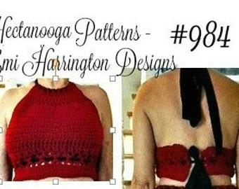 halter top, crochet pattern, easy pattern includes size: S, M,L,XL,XXL, #984, teen and women's clothing, summer top, beach wear,