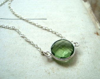 Peridot Glass Pendant Necklace Gifts For Her Summer Fashion August Birthstone Sterling Silver Gifts Under 40 Simple Jewelry