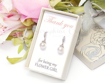Flower Girl Earrings, Junior Bridesmaid Earrings, Wedding Earrings Swarovski Pearls Cubic Zirconia Wedding Jewelry Bridesmaid Gifts K153
