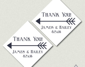 Arrow Thank You Tags, Navy Arrow, Tribal Wedding, Arrow Favor Tags, Personalized Thank you Tag, Printable PDF, Thank you Tags, Square Tags