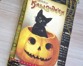 Mixed Media Halloween Keepsake Tag with Classic Black Cat