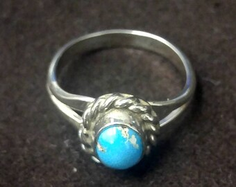 ONE Sterling Silver Oval Blue Turquoise Ring, Bezel Set