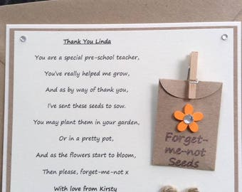 Pre-school Teacher Personalised Thank You poem gift magnet with forget-me-not seeds. Choice of flower colour