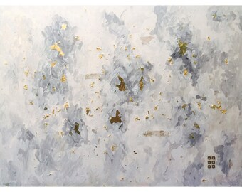 """Atmosphere - Extra Large Original Acrylic Mixed Media Painting With Gold Leaf, Brass Details & Birch Bark - 36""""x48""""x.5"""""""