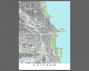 Chicago Map, Chicago Art Print, Map of Chicago Illinois USA