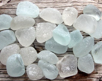 24 Pc Authentic Sea Glass   Genuine Beach Glass   Sea Glass Nuggets   Aqua Sea Glass   White Sea Glass   Surf Tumbled Glass   Mermaids Tears