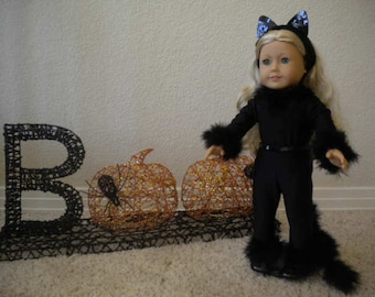4-pc  Black Cat Halloween Costume for 18 inch Doll or American Girl Doll