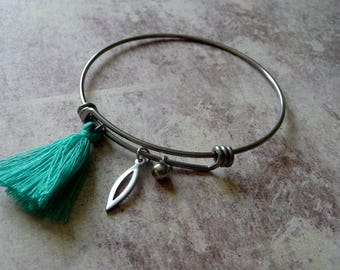 Bangle Bracelet in stainless steel with turquoise tassel