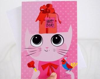 Girl birthday cards - cat birthday card -  illustrated card - kids birthday cards - handmade card - Blank card - Pink greeting card