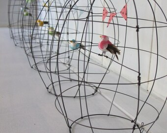 little wire bird cage ( choose your color : yellow, green, pink, blue)