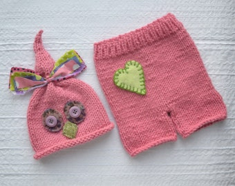 SALE Newborn Girl Knit Outfit RTS BaBY PHoTO PRoP, Pink Owl Hat Pant SET, Baby Bird Beanie Heart Shorts, Coming Home Costume
