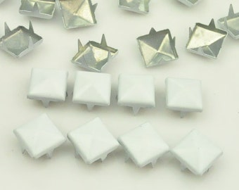 50 pcs. White Studs Rivets Biker Spikes spots nailheads Decorations Findings 9 mm  with 4 claws Rivets DIY accessories.