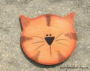 orange tabby cat, cat magnet, crazy cat lady gifts, cat lover gifts, refrigerator magnets, cute magnets, hand painted wood cat, mother gift