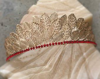 HERMES Tiara, Swarovski Luxury Hair Accessories, Rhinestone Crown, Tiara, Vintage, Pageant Crown, Crystal wedding, queen, gold, ruby red