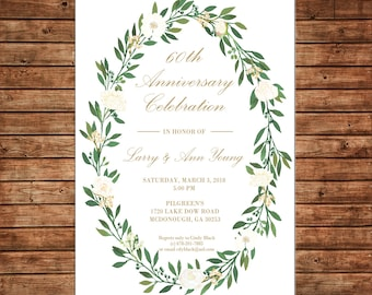 Anniversary Invitation Watercolor Wreath Vine Shower Party Birthday  - Can personalize colors /wording - Printable File or Printed Cards