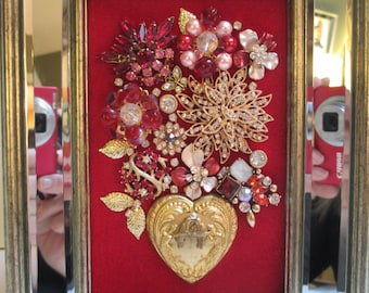 Jeweled Framed Jewelry Flower Bouquet Red Gold Mirrored Hearts Valentine
