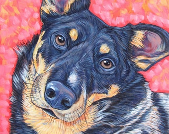 """Custom Pet Portrait Painting 10"""" x 10"""" on Canvas in Acrylic of One Dog, Cat, Horse, Goat, Other Pet Lover OOAK Art Custom Dog Memorial"""