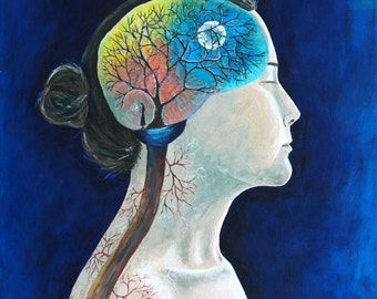 """16x20x.5 Acrylic on Canvas, """"Synapse"""" Woman with Brain, Tree, Veins, Roots, Blue Surreal"""