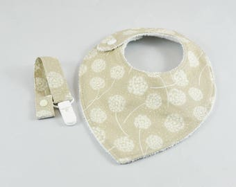 Bandana bib + clip pacifier dandelion white and taupe baby gift set
