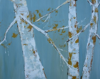 SALE 40 PERCENT OFF Original Painting White Birch Trees LARGE 30X40
