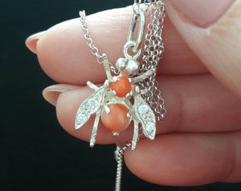 Silver 925 and coral bee pendant
