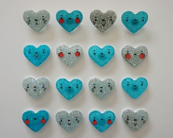 Bear and Cat Heart Brooches