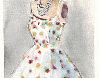 Watercolor Painting - White Vintage Summer Dress with Flowers Watercolor Art Print, 8x10