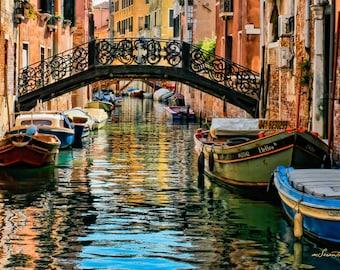 CANVAS wrap, Bridge of Sighs - Venice poster size canvas - Award-winning Fine art photography gift -  blue, green, terra-cotta