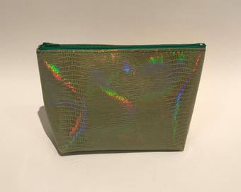 Iridescent green leather makeup case