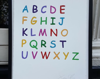 ABC Alphabet, Medium (Color):Hand Painted  Framed and Signed Edition of 50 by Jason Oliva Art Painting Print Picture Gift
