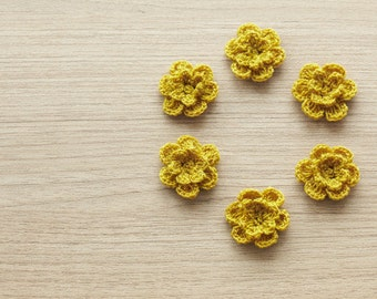 6 pcs of sephia crocheted flowers, 24mm