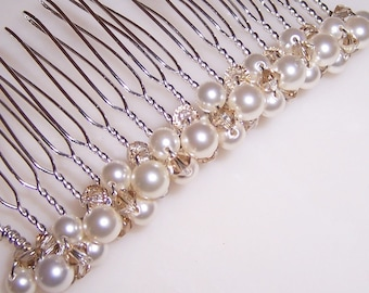 3 Inch Pick Your Colors Wedding Bridal Comb with Swarovski Pearls and Crystals