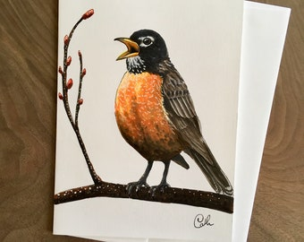 Order bird theme. Original 5 x 7 in by hand in alcohol ink and brush marker - custom order