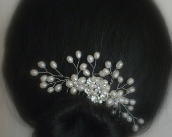 Lisa - Freshwater Pearl and Rhinestone Bridal Comb