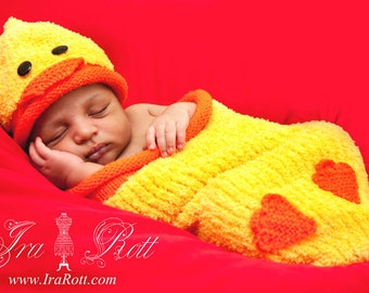 Ducky Hat and Cocoon Set for Newborn -  READY to SHIP