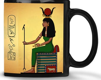 Hathor Egyptian goddess mug & your egyptian name in hieroglyphs - ancient egypt toast