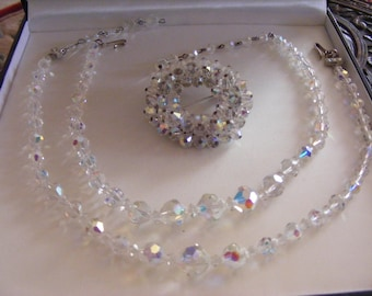 Two Vintage Crystal Necklaces Plus Stunning Vintage Brooch