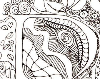 Monogram - R - Initial, Colour-Me-In Illuminated Letters, original art  drawings by melanie j cook