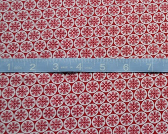Snowflake Fabric, White with Red Snowflakes, Christmas Fabric, Winter Material-Quilting, Clothing, Crafts - Cotton Yardage, By The Yard