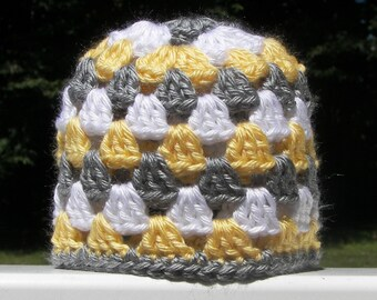 Gray, Yellow, and White Hat - Baby Hat - Newborn Hat - Granny Square Crochet - Striped Hat - Gende Neutral - Ready to Ship - Baby Shower